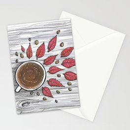 Hot coffee on a chilly fall day Stationery Cards