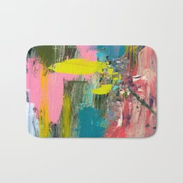 Collision - a bright abstract with pinks, greens, blues, and yellow Bath Mat