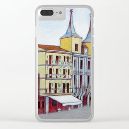 Postcard from Plaza Mayor, Segovia, Spain Clear iPhone Case