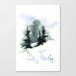 Snowy Hillside Watercolor Canvas Print