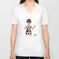 60s V-neck T-shirts featuring 60s Zodiac Gals: Taurus by Skart87