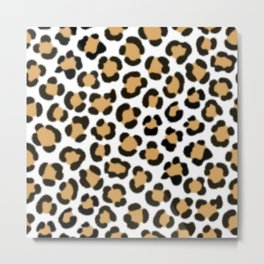 Trendy Leopard Simulated Fur Effect Pattern Metal Print