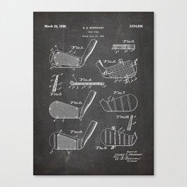 Golf Clubs Patent - Golfing Art - Black Chalkboard Canvas Print