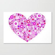 Retro Pink Heart Canvas Print