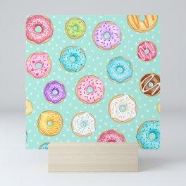 Scattered Rainbow Donuts on spotty mint - repeat pattern Mini Art Print
