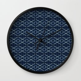 Woven Ribbon Indigo Criss Cross Lines Wall Clock