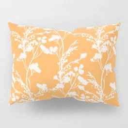 Floral Archive - Botanical Cut Out - Off White on Mango Orange Pillow Sham