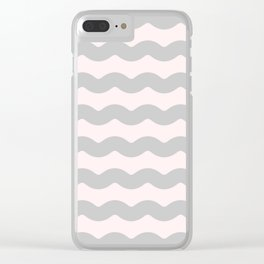 Winter 2018 Color: Gasp Gray on Millennial Pink Waves Clear iPhone Case