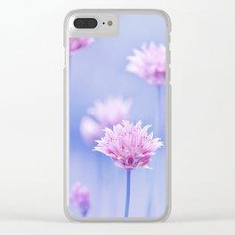 Allium pink macro 087 Clear iPhone Case