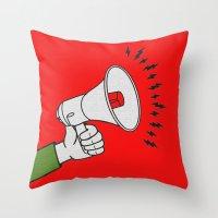 propaganda Throw Pillows featuring Megaphone propaganda by Et Voilà