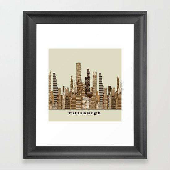 Pittsburgh skyline vintage Framed Art Print