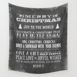 Christmas Chalk Board Typography Text Wall Tapestry