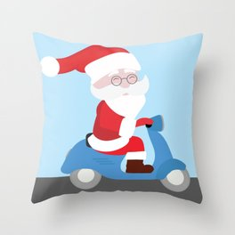 Santa Claus coming to you on his Scooter Throw Pillow