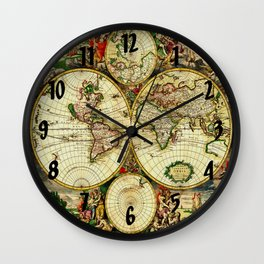 Ancient World Map 1689 Wall Clock