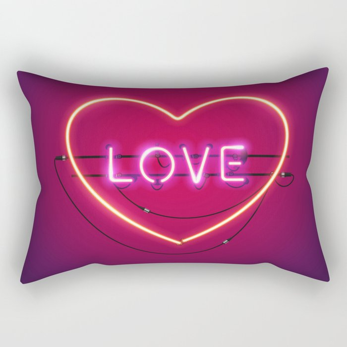 Pink Love in the Heart Neon Sign Rectangular Pillow