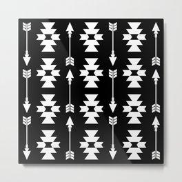 Southwestern Arrow Pattern 235 Black and White Metal Print