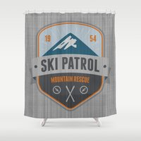 ski Shower Curtains featuring Ski Patrol by Nezz