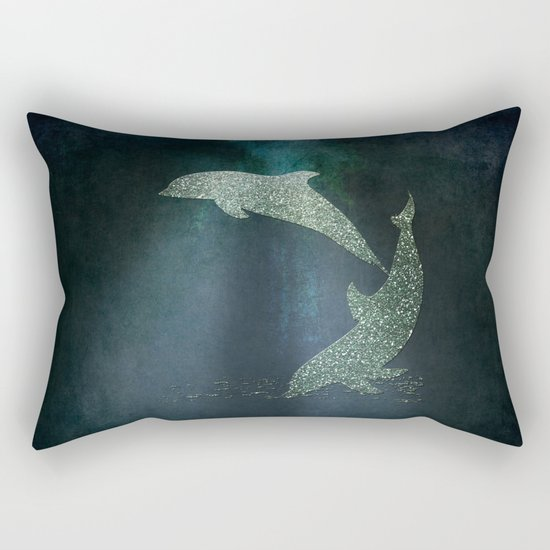 Playing glitter effect Dolphins- Dolphin Animal Sea Ocean #Society6 Rectangular Pillow