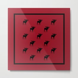 Bull Moose Silhouette - Black on Red Metal Print