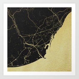 Barcelona Black and Gold Map Art Print