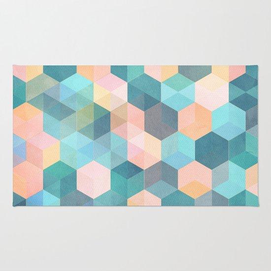Charming Childu0027s Play 2   Hexagon Pattern In Soft Blue, Pink, Peach U0026 Aqua Rug.  Alternate