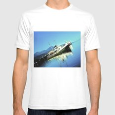 South Boat. MEDIUM White Mens Fitted Tee