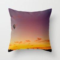ballon Throw Pillows featuring Ballon Sunset by JDHicks