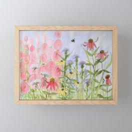 Botanical Floral Watercolor Pink Blue Yellow Flowers Blue Skies Framed Mini Art Print