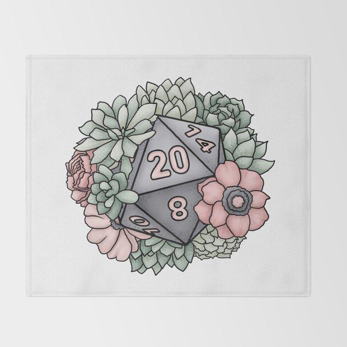 Succulent D20 Tabletop RPG Gaming Dice Throw Blanket