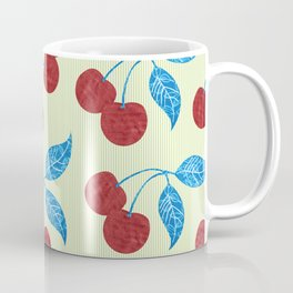 Rustic Farmhouse Fruit Red Cherries with Blue Leaves on Green and White Stripes Coffee Mug