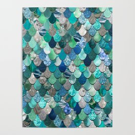 Mermaid Pattern, Sea,Teal, Mint, Aqua, Blue Poster