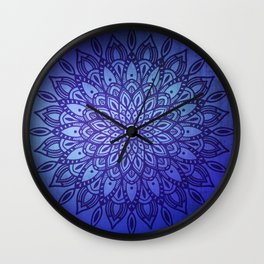 Dark Mandala in Blue Wall Clock