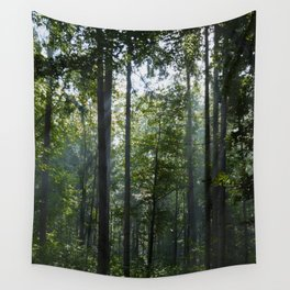 Green forest shrouded the sun. Wall Tapestry