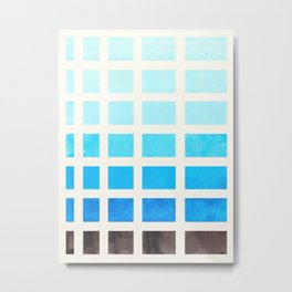 Cerulean Blue Watercolor Gouache Painting Geometric Square Pattern Matrix Metal Print