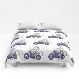 Tiger on a Motorcycle Comforters