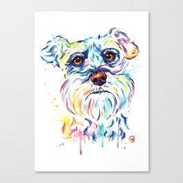 Schnauzer Watercolor Pet Portrait Painting Canvas Print