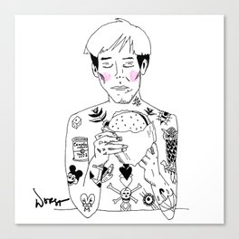 warhol eats a burger today Canvas Print