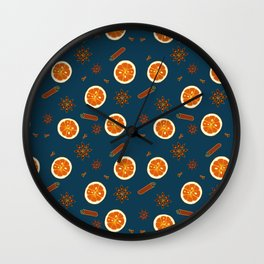 Orange Slices and Spices on Blue Wall Clock