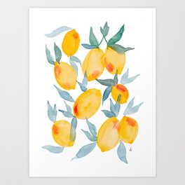 Lucky Lemons Watercolor Fruit Pattern in Peach and Yellow Art Print