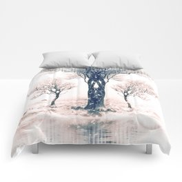Symmetrical Winter Forest Comforters