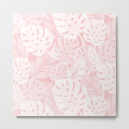 Tropical Shadows - Light Blush / White Metal Print