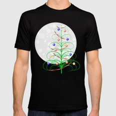 Abstract Christmas tree on a snowy background MEDIUM Mens Fitted Tee Black