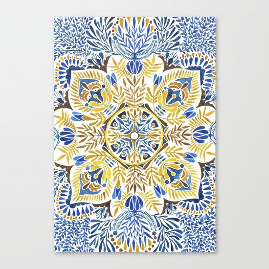 Wheat field with cornflower - mandala pattern Canvas Print