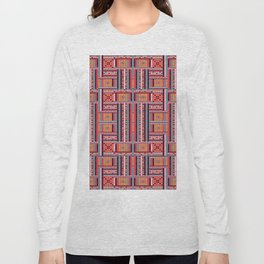 Vintage red orange ethnic aztec geometrical pattern Long Sleeve T-shirt