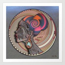 African woman profile on a woven basket Art Print