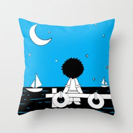 Midnight Harbour - Retraced Throw Pillow
