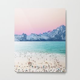 The Island, Pastel Tropical Beach, Travel Nature Landscape, Surrealism Photography Summer Metal Print