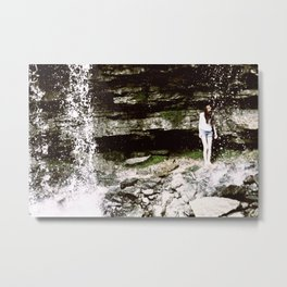 Waterfall Girl Metal Print