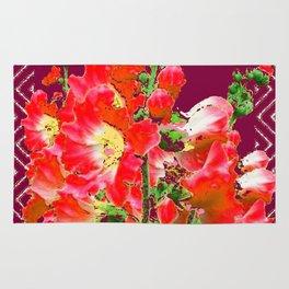 Burgundy  Red Orange Holly Hocks Pattern  Color Floral Art Rug