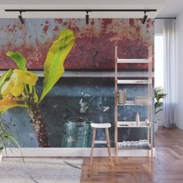 yellow euphorbia milii plant with old lusty metal background Wall Mural